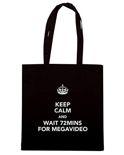 Speed Shirt Borsa Shopper Nera TKC1502 KEEP CALM AND WAIT 72MINS FOR MEGAVIDEO