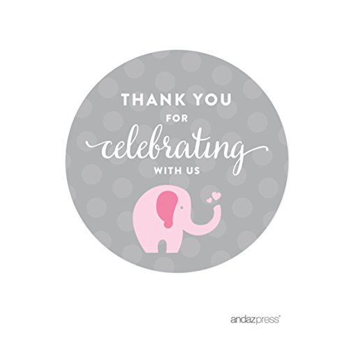 Charming Andaz Press Pink Girl Elephant Baby Shower Collection, Round Circle Label  Stickers, Thank You For Celebrating With Us!, 40 Pack