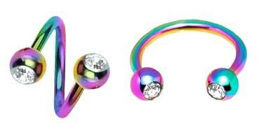 (2 pc lot Rainbow Anodized titanium Twist & Horseshoe horse shoe w/ cz gem balls Spiral Ring lip tragus eyebrow ear belly nipple - 16 gauge, 16g)