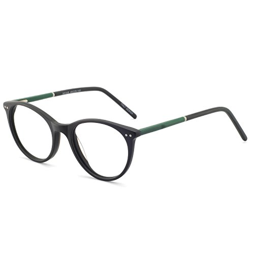 OCCI CHIARI Fashion Eyewear Metal Spring Hinge Round Women's Glasses Frame Non Prescription Eyeglasses (Dumb Black+Green)
