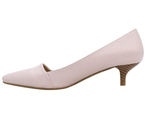 Classic Pink Suede Black Matt Greatonu Mid Kitten Pu Smart Formal Heel Shoes Womens Court Dress Sweet Pumps RaRW4Y