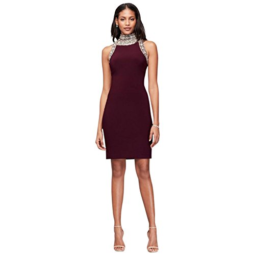 Wine Beaded Style 117105DB Dress Jersey Neck Mini David's Bridal Mock 4gq77P