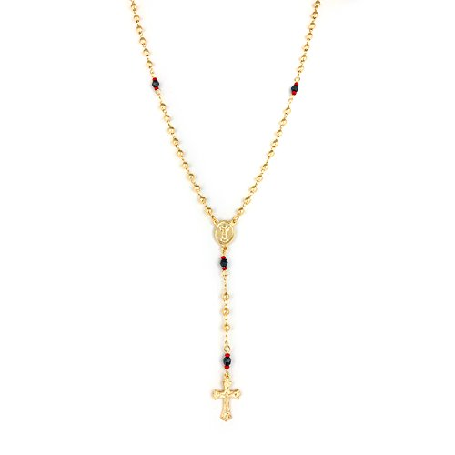 JEWELRY PARADISE Unisex Rosary Y Necklace with Azabache Beads Red and Black for Evil Eye Protection Good Luck 14k Gold Filled Overlay-Plated Jewelry Lucky String Kabbalah Girls Boys Baby