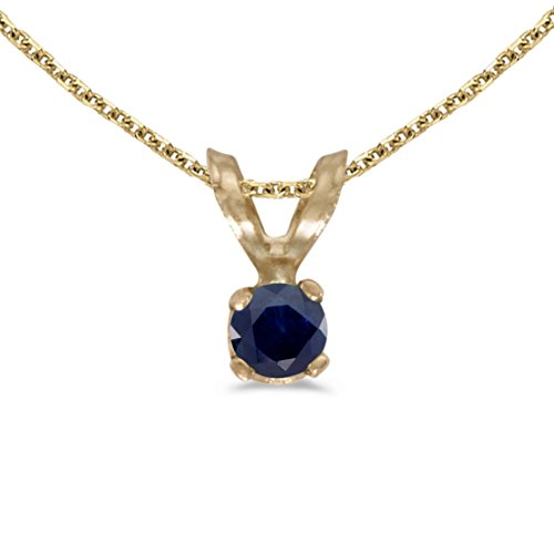 14k Yellow Gold Genuine Birthstone Round Sapphire Pendant (0.09 Cttw.) by FB Jewels