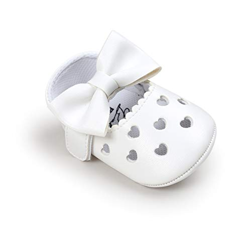 HsdsBebe Baby Girls Shoes Heart Hollow Out Mary Jane Flats Toddler Fisrt Walkers Infant Princess Bow Moccasins Crib Shoes (12-18 Months, A-White)