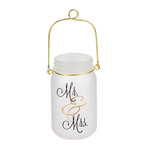 Evergreen Glass Mason Jar w/String Lights, Mr & Mrs
