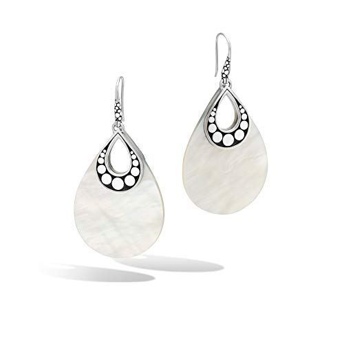 John Hardy Women's Dot Silver Earrings on French wire with Mother of Pearl