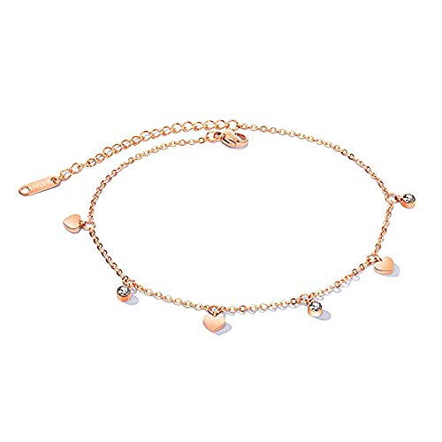 Anklets for Women Stainless Steel Anklet Heart Crystal Tassel Pendant with Adjustable Link Chain 21cm Rose Gold