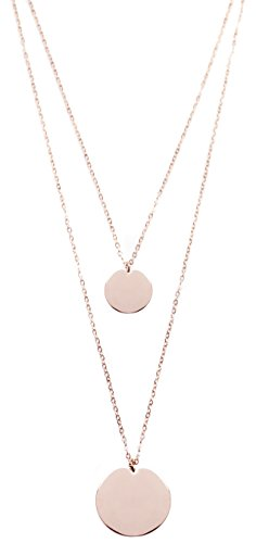 Double Happiness Circle Necklace - Layered Necklace Circle Pendants Rose Gold | Double Row Necklace 2 Round Charms