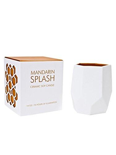 - D.L. & Co. DL-2053 Abstract Collection Mandarin Splash, White/Orange, 14 oz