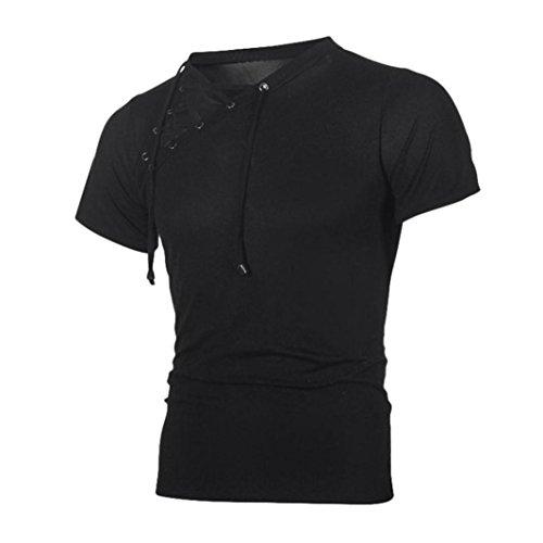 Bluestercool 2018 Printemps et Été Hommes T-Shirt Manches Courtes Bandage Tops Noir