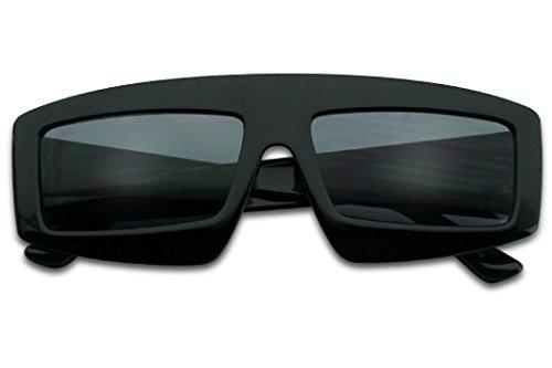 (SunglassUP Bold Sporty Block Shield Rectangle Sunglasses Designer Inspired Shades (Black Frame |)