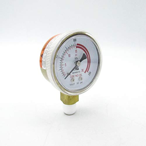 YAGI MH46070 Gold Plated Steel Pressure Gauge for Compressed Gas Regulators 30PSI ()