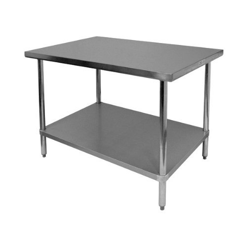 Wood Top Work Table - GSW Commercial Flat Top Work Table with Stainless Steel Top, 1 Galvanized Undershelf & Adjustable Bullet Feet, 24