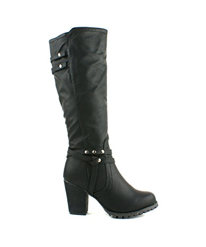 LADIES WOMENS BLOCK HEEL GRIP SOLE KNEE HIGH ZIP RIDING STYLE BOOTS SHOES SIZE 3 4 5 6 7 8 Black