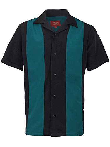 Ginoken Men's Two Tone Panel Retro 50s Bowling Casual Dress Short Sleeve Shirt -