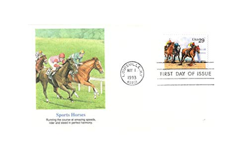 (FDC Horse Racing {Unaddressed Colored Fleetwood} FDC)