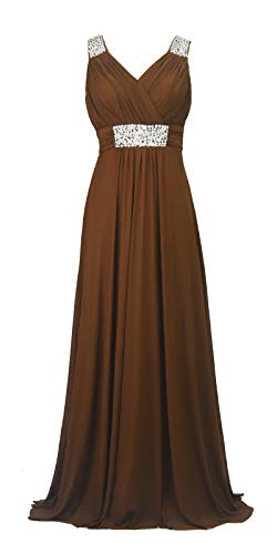 Conail Coco Women Ruched Waist Rhinestone Casual Tulle Semi-Formal Long Wedding Bridesmaid Dress (M, 44Coffee)