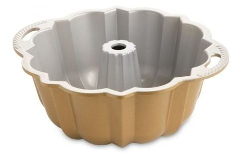 MD-Group Bundt Anniversary Pan Cup 12 inch Nonstick New Baking Bakeware Cast Aluminum 10- 15 Cups Capacity in Gold Finish