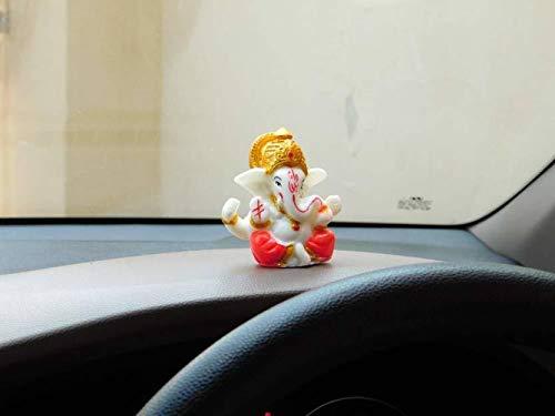 jagriti enterprises Polyresin Meditating Lord Ganesha Idols for home decor, car dashboard, 2.3 x 2.3 Inch/3 cm…