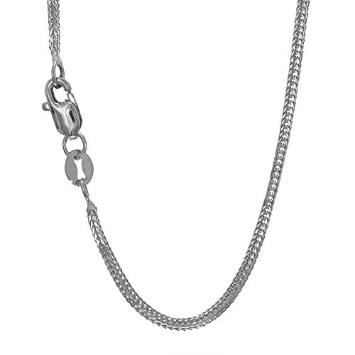 JewelStop 14k Solid White Gold 1 mm Foxtail Chain Necklace, Lobster Claw Clasp - 18