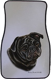Black Pug Car Floor Mats - Carepeted All Weather Universal Fit for Cars & Trucks