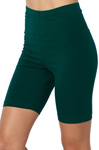 TheMogan Women's Mid Thigh Cotton High Waist Active Short Leggings Hunter Green XL