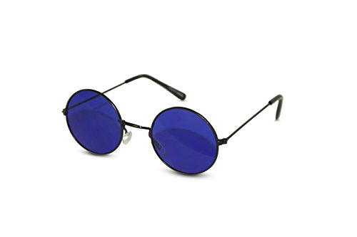 John Lennon Sunglasses Round Hippie Shades Retro Colored Lenses Retro Party (Black frame w/ Blue Lens)