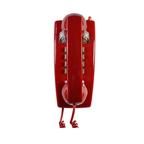 (ZHFHA Office Hotel Wall Hanging Vintage Decorative Telephones Home Fixed Landline Small Expansion Corded Phone Wall Phone with Push Button Technology (Color : Red))