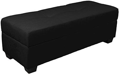 Epic Furnishings Vanderbilt Loveseat Tufted Padded Hinged Storage Ottoman Bench, Microfiber Suede Ebony Black