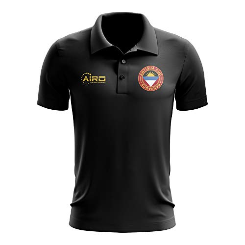 - Airosportswear Antigua and Barbados Football Polo Football Soccer T-Shirt Jersey (Black)