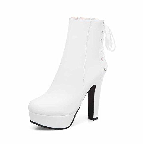 - GLTER Women Platform Boots 2018 Autumn Winter Fashion Zipper High Heel Lace Up Ankle Boots Size 34-48 (Color : White, Size : 39 EU)