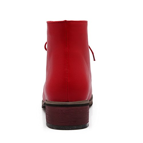 Heels BalaMasa Bandage Leather Red Imitated Boots Girls Heels Chunky Low qtATtr