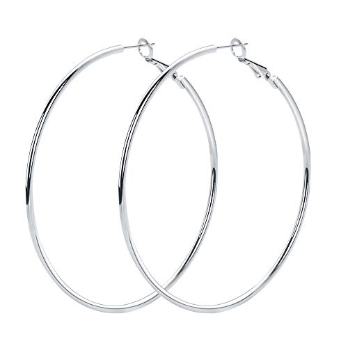 Rugewelry 925 Sterling Silver Hoop Earrings,18K White Gold Plated Polished Rounded Hoop Earrings For Women Girls,Gift Box Packaging Amazing 925 Sterling Silver Earring