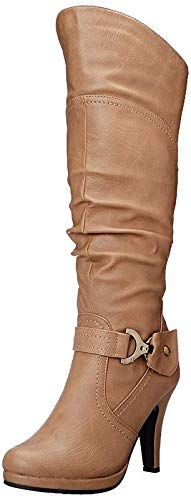 TOP Moda Womens Page-65 Knee High Round Toe Lace-Up Slouched High Heel Boots,Tan,10