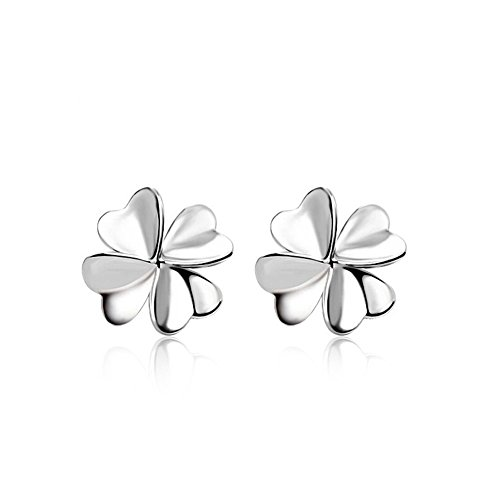 Ginasy 925 Sterling Silver Four Leaf Clover Cute Stud Earrings for Women&Girls, Fine Jewelry (Fine China Leaf)