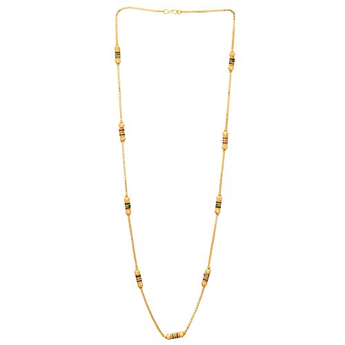 Shreyadzines Women's Gold Plated Traditional Design Long Necklace/Chain | Gold