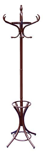 Home Vida Prestige 4-Leg Coat/Hat/Umbrella Floor Standing Rack, Bentwood/Solid Wood, Mahogany by Home Vida Bentwood Coat