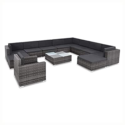 K&A Company Outdoor Furniture Set, 12 Piece Garden Lounge Set with Cushions Poly Rattan Gray