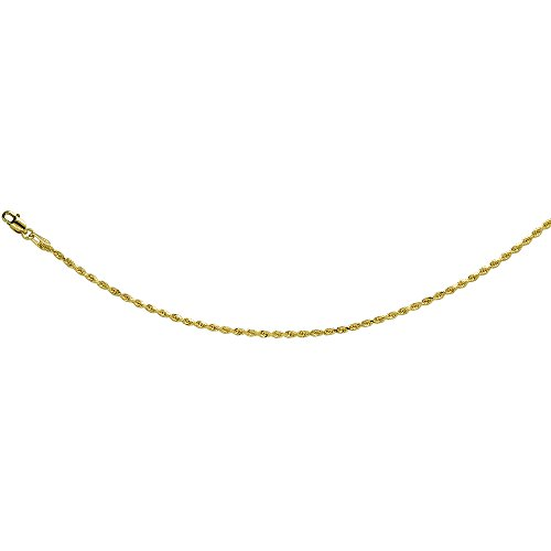 14K Solid Yellow Gold ROPE Chain Necklace Diamond Cut 2 mm Nickel Free, 28 inches long by Sabrina Silver