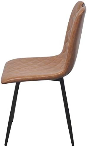 Roderick Irving Lot de 2 chaises de Salle à Manger en Cuir synthétique Marron Clair 44,5 x 54,5 x 87,5 cm