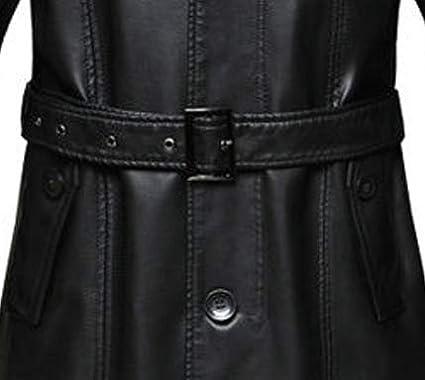 VearFit Womens Long Coat Blazar Black PU Faux Missy Leather Jacket Plus Size Winter