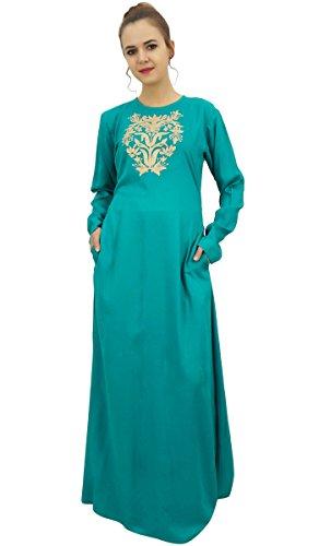Bimba Frauen Casual Rayon Langarm Aari Arbeit Maxi Langes Kleid ...