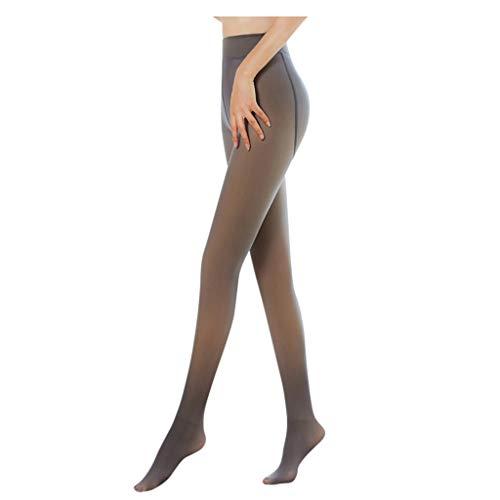 QiFei Dames panty pluche kousen perfect benen afslanken vervalste doorschijnend warm fleece panty – warme thermopanty…