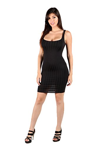 SWTD Women's Stretch Sleeveless Scoop Neck Knit Ribbed Lining Bodycon Dresses (Large, Black)