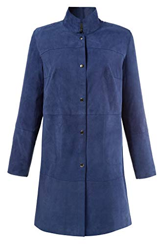 Ulla Popken Women's Plus Size Snap Front Blue Suede Jacket Cobalt Blue 12/14 712009 71