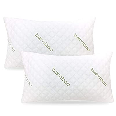 ik Bamboo Pillow (2-Pack) - Premium Pillows for Sleeping - Shredded Memory Foam Pillow with Washable Pillow Cover - Adjustable Loft - (King and Queen) by Sleepsia