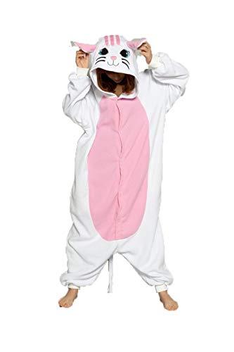 (Pink Unicorn Sets Flannel Animal Pajamas Winter Nightie Stitch for Women Men Adults Pigama Halloween White cat)