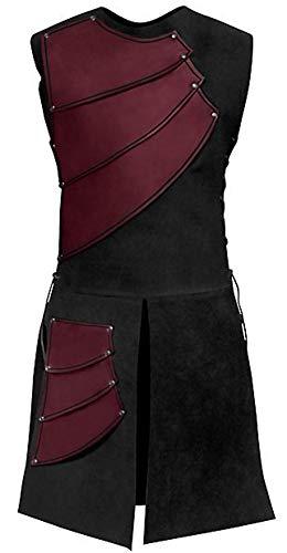 Jacobite Waistcoat - LETSQK Men's Medieval Halloween Costume Renaissance Victorian Waistcoats Vests Red S