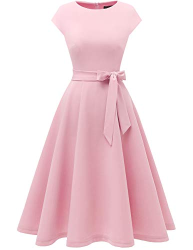 Pink Tea Party Dress (DRESSTELLS Women's Vintage Homecoming Tea Dress Cocktail Party Swing Dress with Cap-Sleeves Pink)
